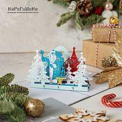 Открытки handmade. Livemaster - original item Santa Claus with snow maiden3D handmade three-dimensional greeting card. Handmade.