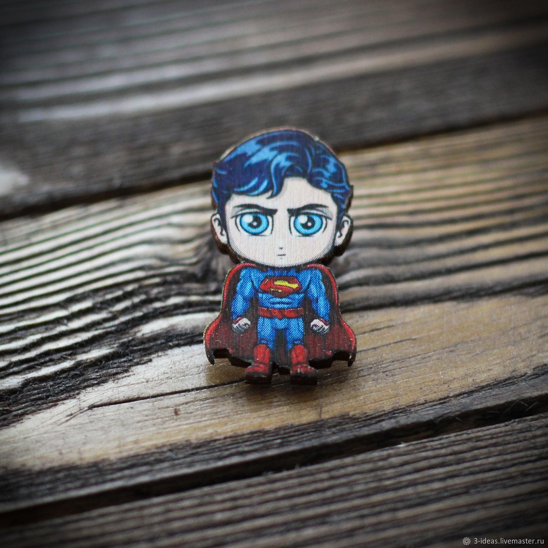 Деревянный значок Супермен, Значок, Волжский,  Фото №1