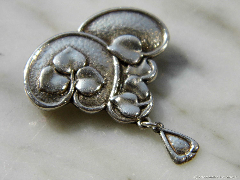 Винтаж: Серебряная английская брошь с подвескои, Броши винтажные, Павия,  Фото №1