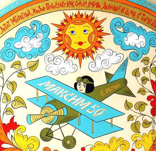 Панно, выполненное по мотивам русской народной росписи Северной-Двины. Подарок лётчику.