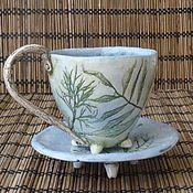 """Посуда ручной работы. Ярмарка Мастеров - ручная работа Пара """"Утренний кофе в саду"""". Handmade."""