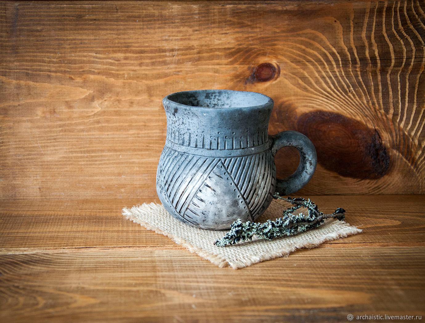 Кружки и чашки ручной работы. Ярмарка Мастеров - ручная работа. Купить Кружка с орнаментом обварная. Handmade. Необычный, серый цвет