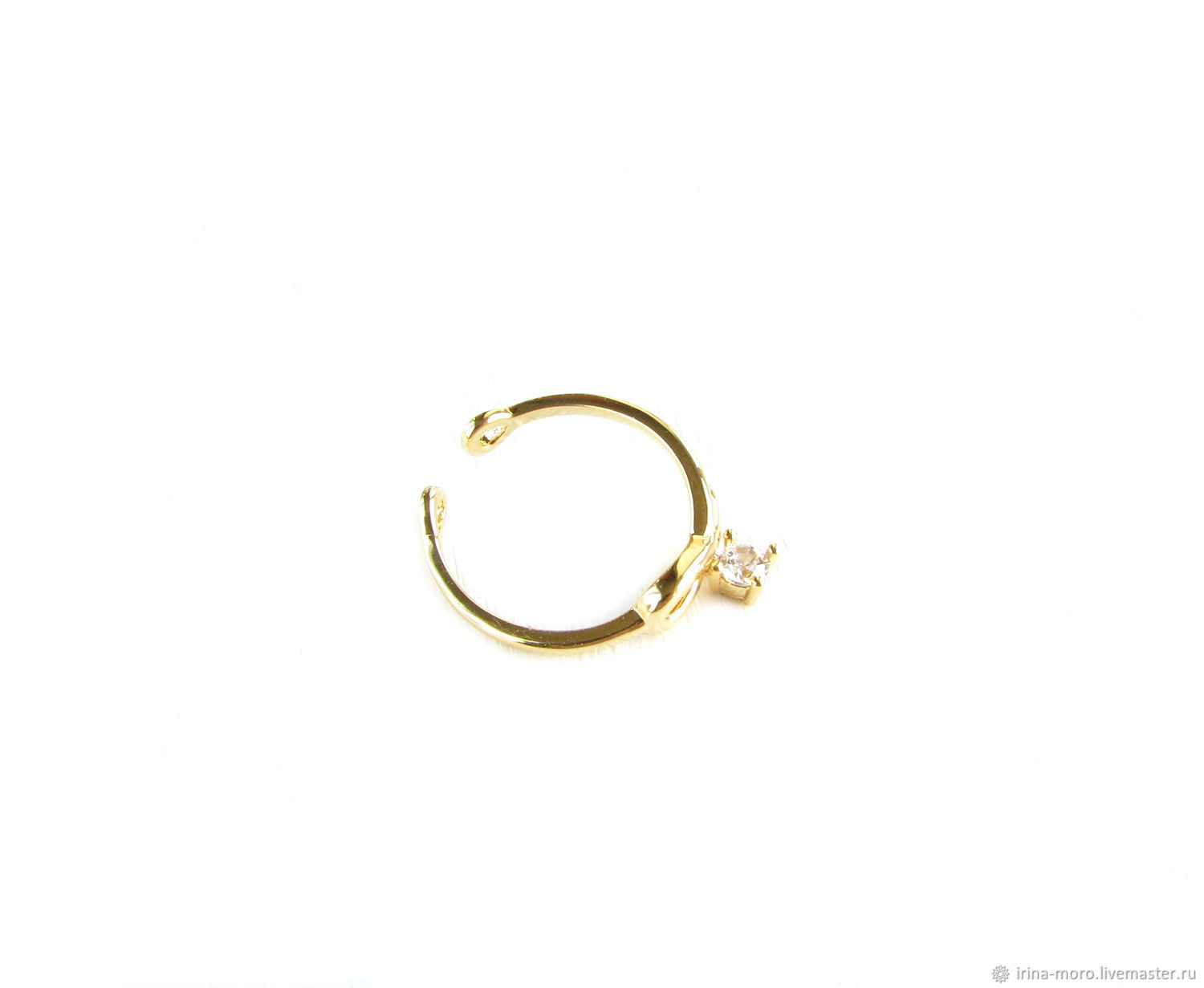 Gold ring with cubic Zirconia, ring with pendant element, Rings, Moscow,  Фото №1