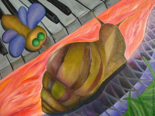 Фантазийные сюжеты ручной работы. Ярмарка Мастеров - ручная работа. Купить Улитка. Handmade. Ярко-красный, муха, картина маслом