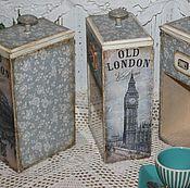 """Для дома и интерьера ручной работы. Ярмарка Мастеров - ручная работа Баночки для чая,кофе """"Old London"""". Handmade."""