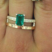 Украшения handmade. Livemaster - original item Silver ring with gold inserts and nano emerald. Handmade.