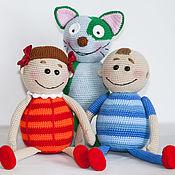 Куклы и игрушки handmade. Livemaster - original item Set of Masha, Sasha and cat Vasily toys (Arkady Parovozov). Handmade.