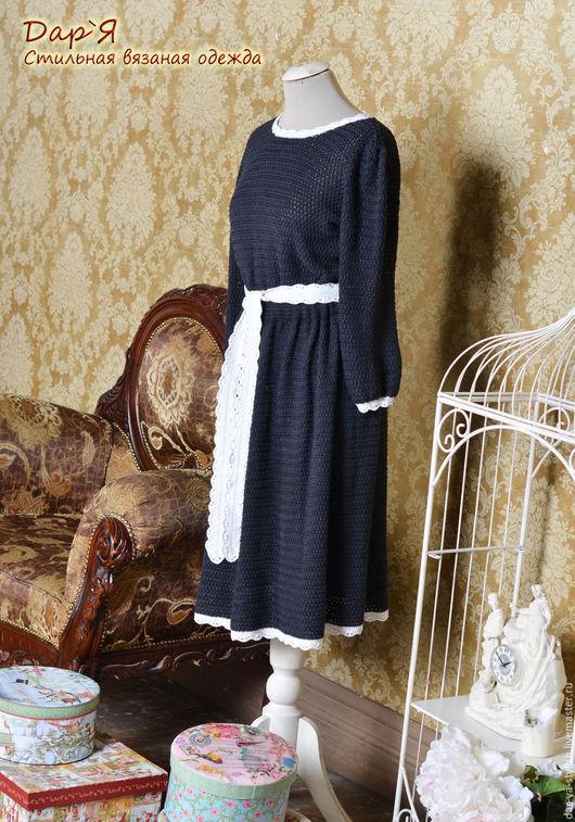 """Платья ручной работы. Ярмарка Мастеров - ручная работа. Купить """"Виктория"""" вязаное платье из шелка. Handmade. Платье, платье гувернантки"""