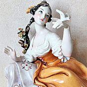 Винтаж handmade. Livemaster - original item Statuette of a Girl with a dove Capodimonte G. Cappe. Handmade.