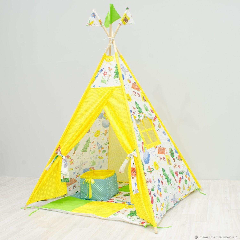 Вигвам для детей желтый, Текстиль, Санкт-Петербург, Фото №1