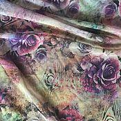 Материалы для творчества ручной работы. Ярмарка Мастеров - ручная работа Фатин - стрейч с принтом розы. Handmade.