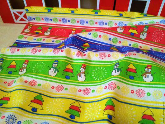 Шитье ручной работы. Ярмарка Мастеров - ручная работа. Купить Ткань льняная новогодняя снеговики. Handmade. Комбинированный, ткань для пэчворка