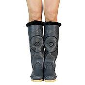 Обувь ручной работы handmade. Livemaster - original item Winter boots sheepskin STELLA (dark grey) 39-40 in the presence of. Handmade.