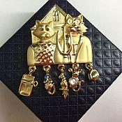 Броши винтажные ручной работы. Ярмарка Мастеров - ручная работа Брошь AJC - кошкин дом, США, 1970 (28). Handmade.