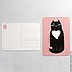"""Открытки на все случаи жизни ручной работы. открытка """"котя любит тебя"""". Ванины Следы. Ярмарка Мастеров. Розовый, дизайнерская открытка"""