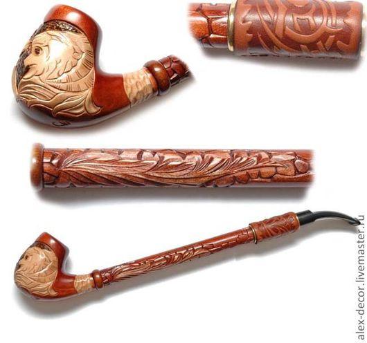 Подарки для мужчин, ручной работы. Ярмарка Мастеров - ручная работа. Купить Курительная трубка с кожей Gusar-11069-41. Handmade.