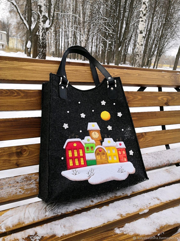 Женские сумки ручной работы. Ярмарка Мастеров - ручная работа. Купить Войлочная сумка Рождество. Handmade. Черный, сумка из фетра