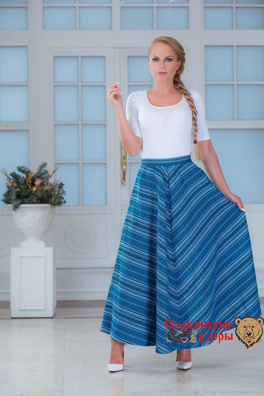 Warm skirt with pockets 'herringbone' blue, Skirts, St. Petersburg,  Фото №1