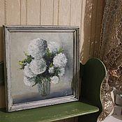 """Картины и панно ручной работы. Ярмарка Мастеров - ручная работа Картина маслом """"Букет белых цветов"""" в раме (прованс). Handmade."""