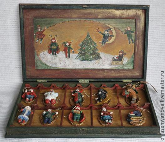 Новый год 2017 ручной работы. Ярмарка Мастеров - ручная работа. Купить Елочные игрушки ручной работы Набор (коробка). Handmade.