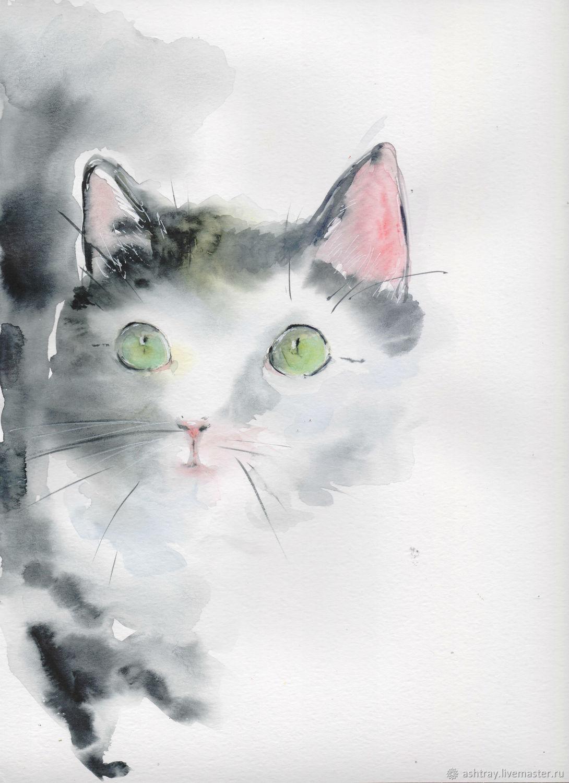 'Murmur ' watercolor painting (cats, animals), Pictures, Korsakov,  Фото №1