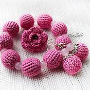 Украшения ручной работы. Ярмарка Мастеров - ручная работа Вязаный комплект с розовым кварцем, браслет и серьги, кольцо. Handmade.