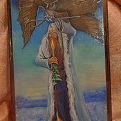 Картины и панно handmade. Livemaster - original item Panels.Painting on wood.The man with the owl. Handmade.
