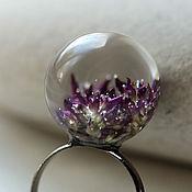 Украшения handmade. Livemaster - original item Lilac transparent earrings-balls and ring with real flowers oregano. Handmade.