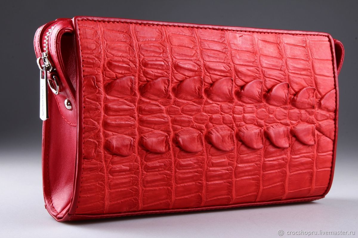 Women's crocodile leather clutch IMA0052R2, Clutches, Moscow,  Фото №1