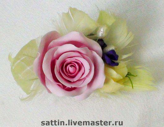 """Броши ручной работы. Ярмарка Мастеров - ручная работа. Купить """"Романтика"""" - брошь с розой. Handmade. Брошь роза"""