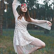 Одежда ручной работы. Ярмарка Мастеров - ручная работа Платье из вышивки гладью и сетки-паутинки с мушкой. Handmade.