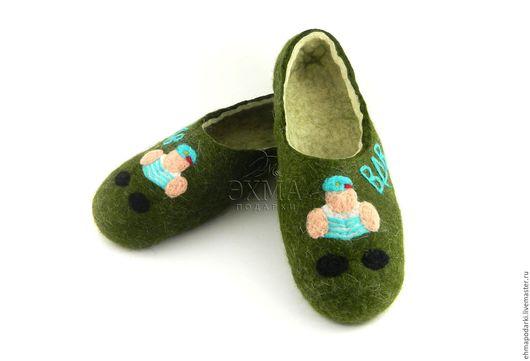 Обувь ручной работы. Ярмарка Мастеров - ручная работа. Купить Тапки ВДВ. Handmade. Войлочные тапочки, дизайнерские тапочки
