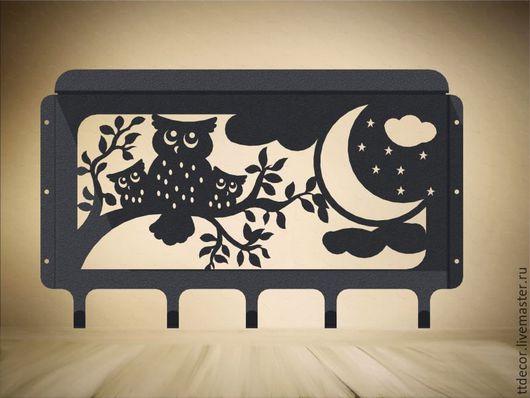 """Мебель ручной работы. Ярмарка Мастеров - ручная работа. Купить Полка-вешалка настенная """"Совуны"""". Handmade. Черный, hi-tech"""
