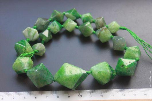 Для украшений ручной работы. Ярмарка Мастеров - ручная работа. Купить Зеленый агат пирамидки 13x14-25x27mm  нить 21 шт. Handmade.