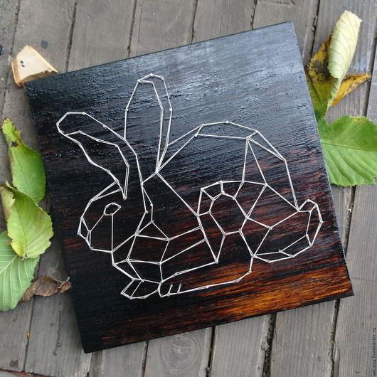 Животные ручной работы. Ярмарка Мастеров - ручная работа. Купить Декоративное панно Кролик. Handmade. Поделка, дерево, заяц, Нитки