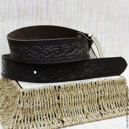"""Пояса, ремни ручной работы. Ярмарка Мастеров - ручная работа. Купить Ремень кожаный """"Кельтский узор"""" 1. Handmade. Коричневый"""