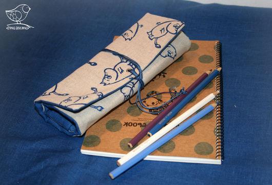 """Пеналы ручной работы. Ярмарка Мастеров - ручная работа. Купить пенал с набивным рисунком """"Муми-тролли"""". Handmade. Тёмно-синий"""