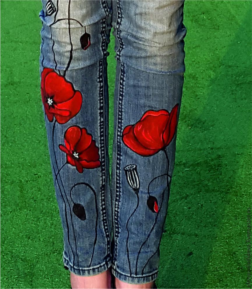 рисунок на джинсы своими руками фото