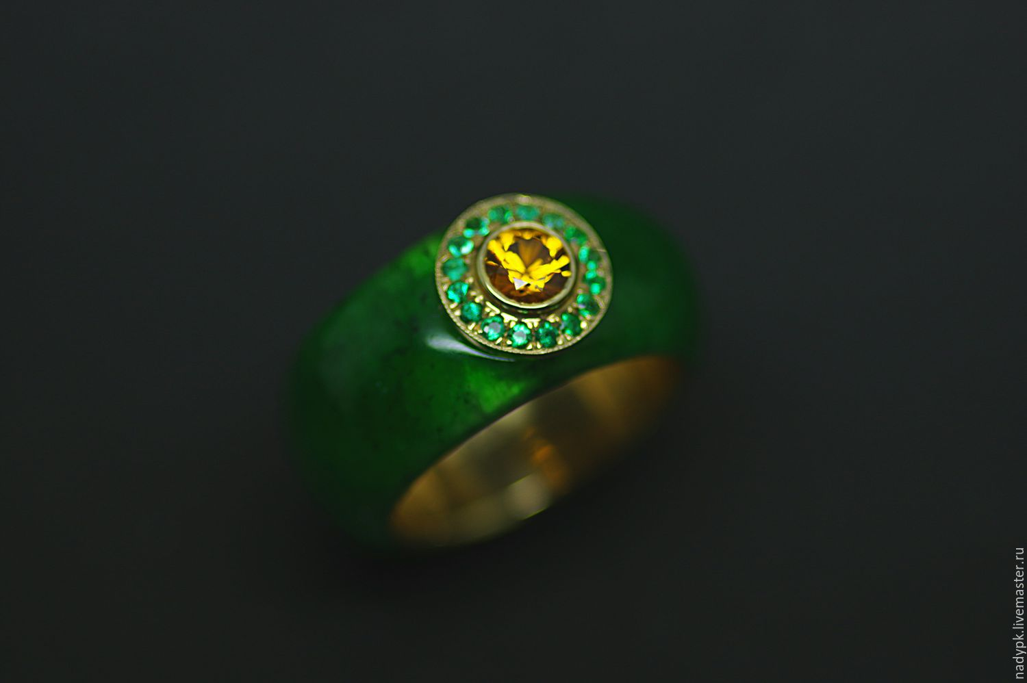 Ring of stone 'Pharaoh', sapphire, emeralds, gold 585, Rings, Moscow,  Фото №1