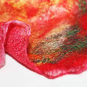 Аксессуары ручной работы. Ярмарка Мастеров - ручная работа Бактус платок валяный двусторонний шерстяной красный Осенний лист. Handmade.