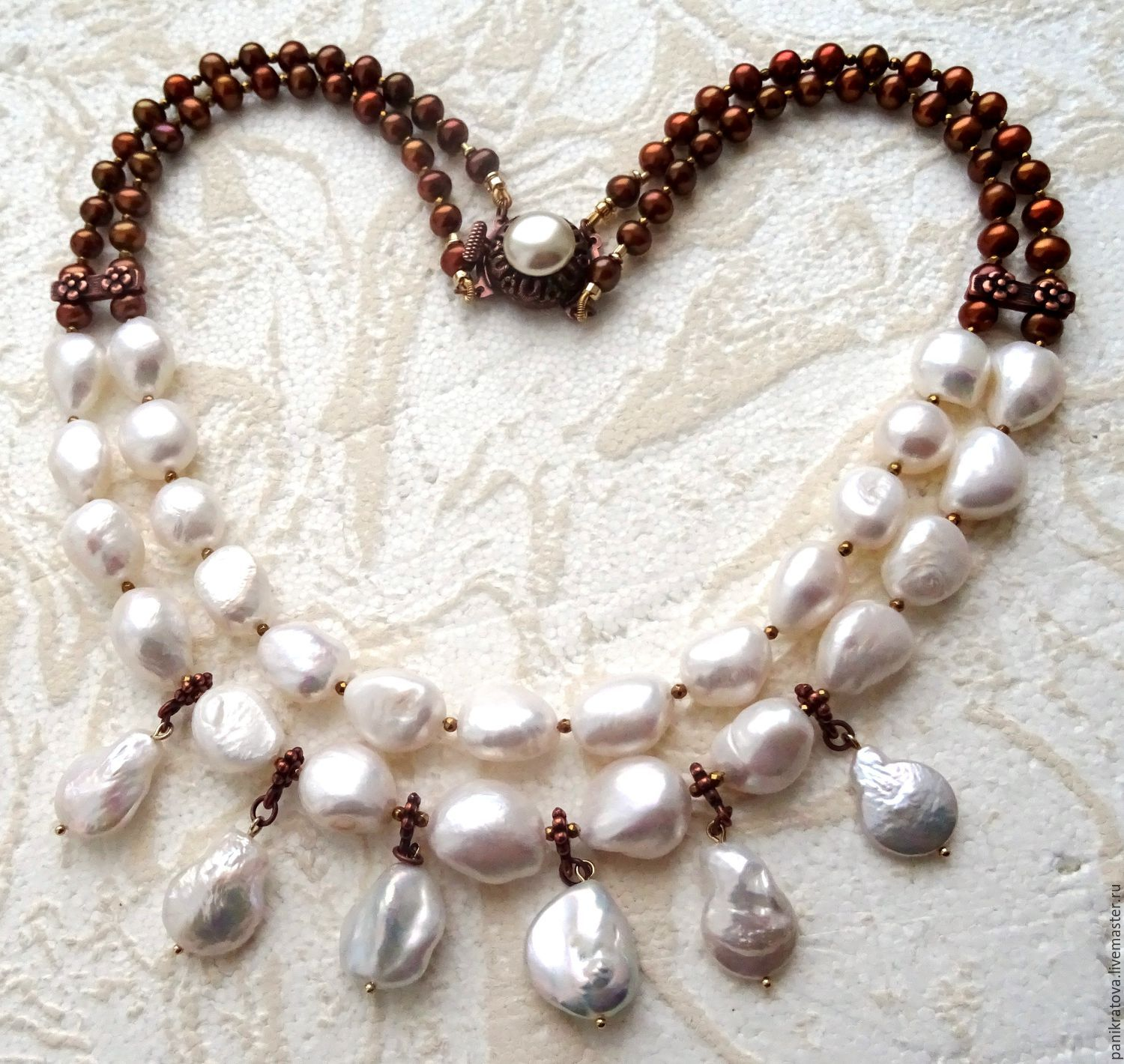 Necklace 'Pearl is always right...' (pearl Baroque, pearl river, hematite, Necklace, Moscow,  Фото №1