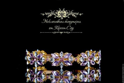 Диадемы, обручи ручной работы. Ярмарка Мастеров - ручная работа. Купить Тиара-корона для волос «Ледяной цветок» золото в стиле DOLCE & GABBANA. Handmade.