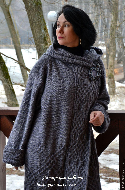 авторское вязаное пальто с капюшоном туманы авалона купить в