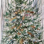 Картины и панно handmade. Livemaster - original item Olive gold - a Christmas picture on paper. Handmade.