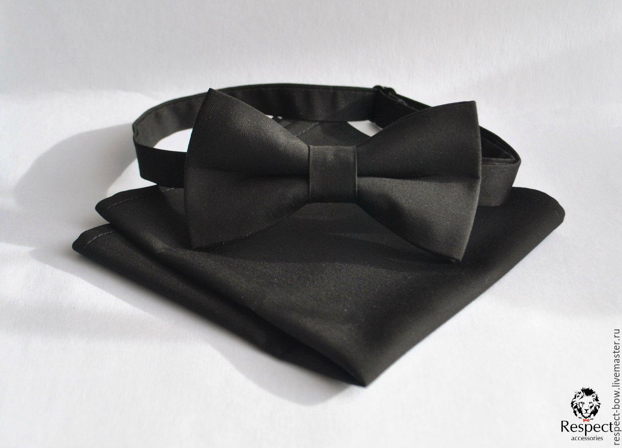 Tie Classic solid black pocket square black, Ties, Moscow,  Фото №1