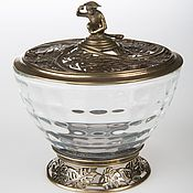 "Sets handmade. Livemaster - original item Sugar bowl ""monstera"" with the figure of a monkey; brass, glass, d105х. Handmade."