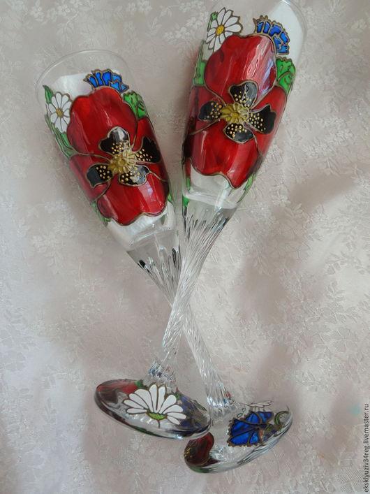 Бокалы, стаканы ручной работы. Ярмарка Мастеров - ручная работа. Купить Полевые цветы. Handmade. Комбинированный, бокалы