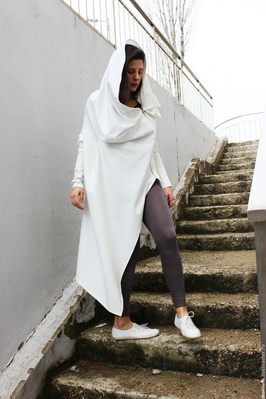 Верхняя одежда ручной работы. Ярмарка Мастеров - ручная работа. Купить Асимметричный кардиган - белый B0018. Handmade. Белый