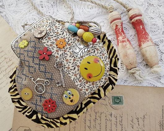 сумка купить желтый серый бежевый косметика кошелек bag purse smile бохо сумка купить коллекция улыбка кошелек livemaster маленький