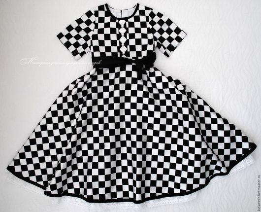 Одежда для девочек, ручной работы. Ярмарка Мастеров - ручная работа. Купить Платье «Домино». Handmade. Клетка, платье в клеточку, домино